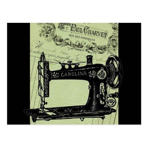 Máquina de coser elegante francesa del vintage tarjeta postal