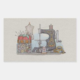 Máquina de coser manual pegatina rectangular