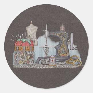 Máquina de coser manual pegatina redonda