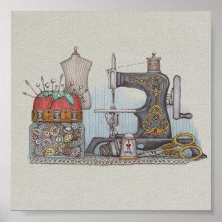 Máquina de coser manual póster