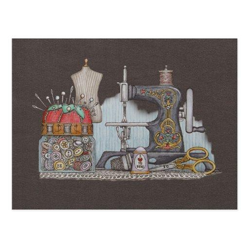 Máquina de coser manual tarjeta postal