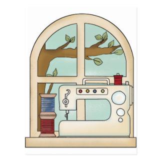 máquina de coser tarjetas postales