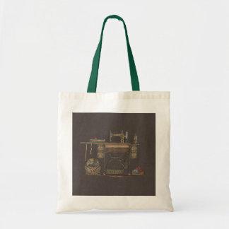 Máquina de coser y gatitos del pedal bolsa tela barata