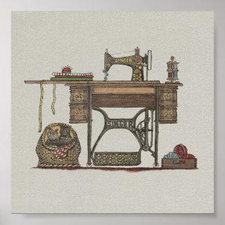 Máquina de coser y gatitos del pedal poster