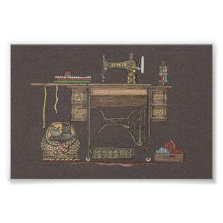 Máquina de coser y gatitos del pedal arte fotográfico