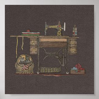 Máquina de coser y gatitos del pedal póster