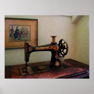 Máquina de coser y litografía póster