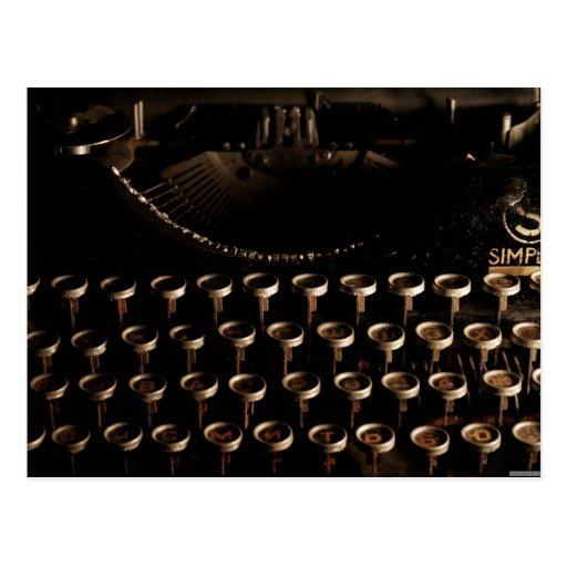 Máquina de escribir a una cara tarjetas postales
