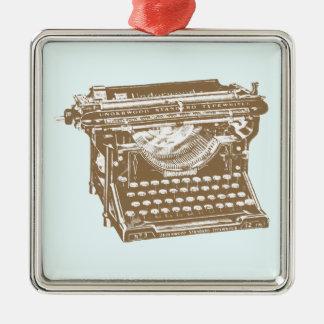 Máquina de escribir adorno navideño cuadrado de metal