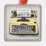 Máquina de escribir amarilla adorno de navidad