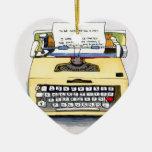 Máquina de escribir amarilla ornaments para arbol de navidad