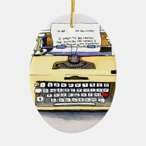 Máquina de escribir amarilla ornamento de navidad