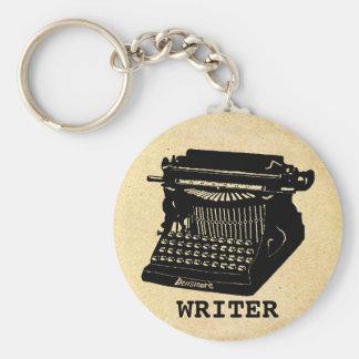Máquina de escribir antigua del escritor llavero redondo tipo pin