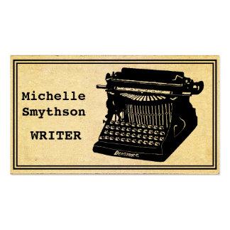 Máquina de escribir antigua del escritor tarjetas de visita