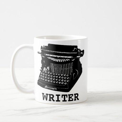 Máquina de escribir antigua del escritor taza básica blanca