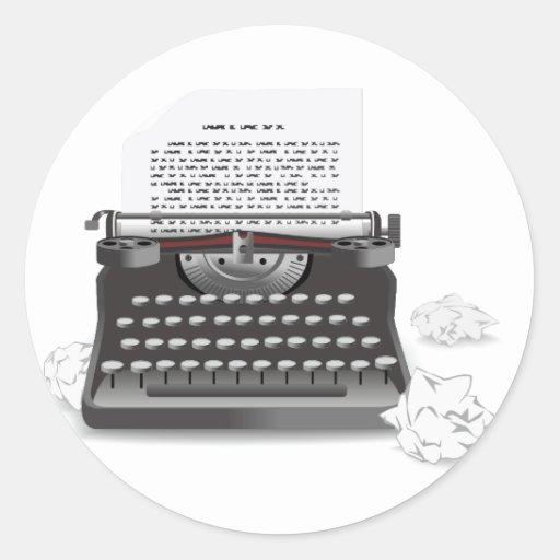 Máquina de escribir antigua etiqueta redonda