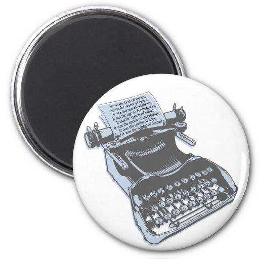Máquina de escribir antigua imán para frigorifico