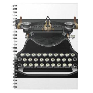 Máquina de escribir antigua libros de apuntes