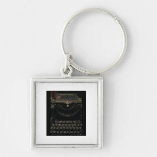 Máquina de escribir antigua llavero cuadrado plateado