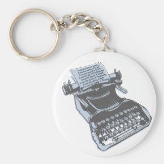 Máquina de escribir antigua llavero redondo tipo pin