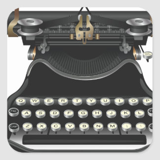 Máquina de escribir antigua pegatina cuadrada