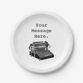 Máquina de escribir antigua personalizada del plato de papel de 7 pulgadas