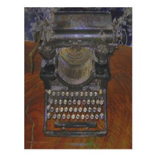 Máquina de escribir antigua vieja flaca postal