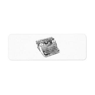 Máquina de escribir apenada vintage del sotobosque etiqueta de remite