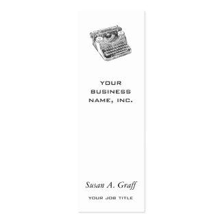 Máquina de escribir apenada vintage del sotobosque tarjetas de visita mini
