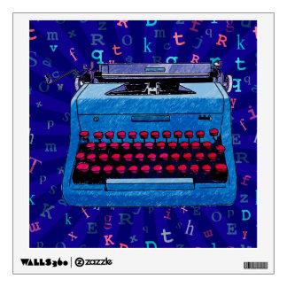 Máquina de escribir azul en etiqueta azul vinilo