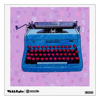 Máquina de escribir azul en etiqueta de la lila vinilo adhesivo