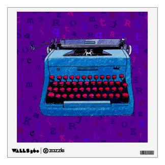 Máquina de escribir azul en etiqueta púrpura vinilo decorativo