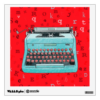 Máquina de escribir azul en etiqueta roja vinilo