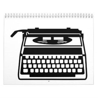Máquina de escribir calendario de pared