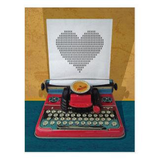 Máquina de escribir de juguete retra del vintage d postal