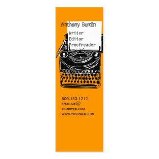 Máquina de escribir de la oficina tarjetas de visita mini