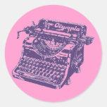 Máquina de escribir de la púrpura del arte pop del pegatina redonda