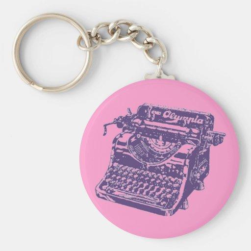 Máquina de escribir de la púrpura del vintage llavero