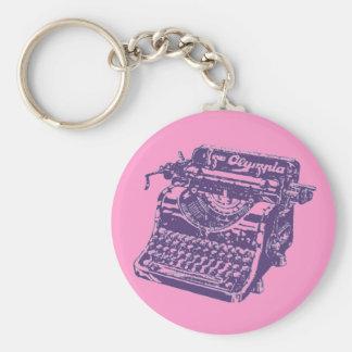 Máquina de escribir de la púrpura del vintage llavero redondo tipo pin