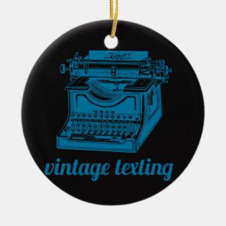 Máquina de escribir de Texting del vintage Adorno Navideño Redondo De Cerámica