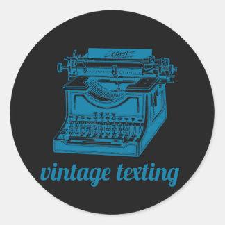 Máquina de escribir de Texting del vintage Pegatina Redonda