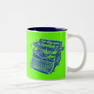 Máquina de escribir del azul del arte pop del taza de dos tonos
