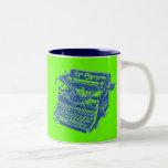 Máquina de escribir del azul del arte pop del vint taza de café