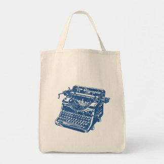 Máquina de escribir del azul del vintage bolsa tela para la compra