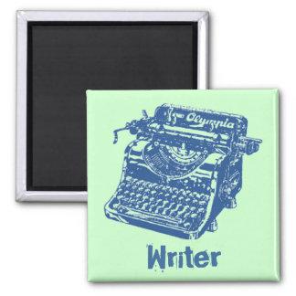 Máquina de escribir del azul del vintage imán de frigorifico
