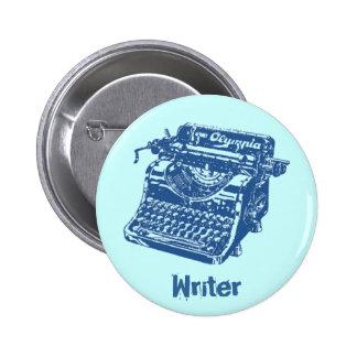 Máquina de escribir del azul del vintage pin redondo de 2 pulgadas