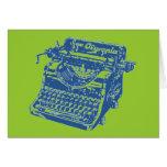 Máquina de escribir del azul del vintage tarjeta