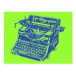 Máquina de escribir del azul del vintage tarjeta postal