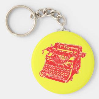 Máquina de escribir del rojo del vintage llavero redondo tipo pin