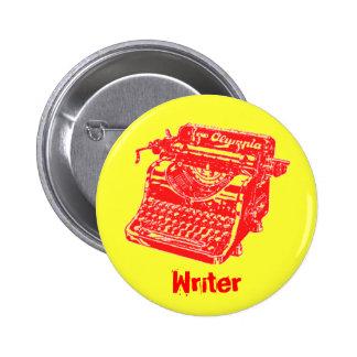 Máquina de escribir del rojo del vintage pin redondo de 2 pulgadas